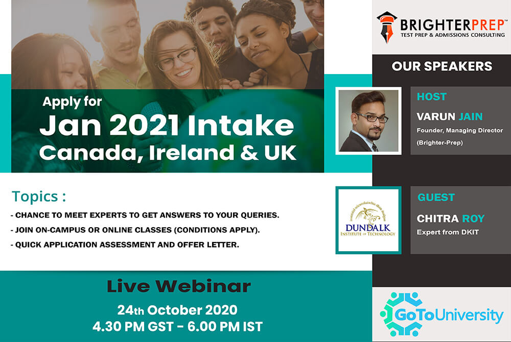 Apply for Jan 2021 Intake in Canada Ireland and UK